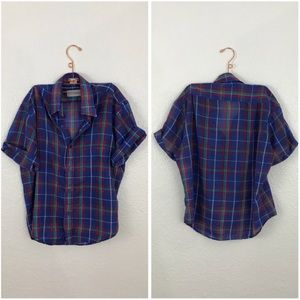 Vintage Plaid Oversized Short Sleeve Button Up Top